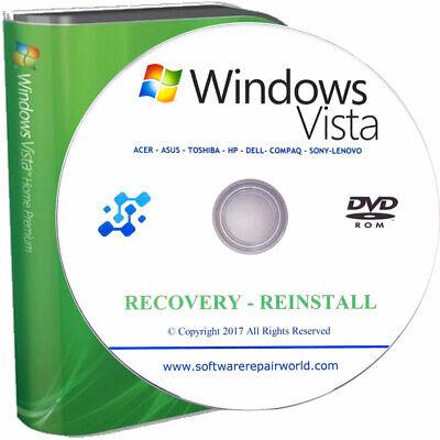 Windows Vista Home Premium 32/64 Recovery Reinstall PC Laptop Disk DVD (Windows Vista Home Premium Laptop)