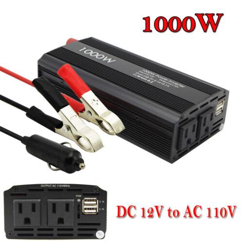 1000W 2000W Car Power Inverter DC 12V To AC 110V 2 AC Outlet