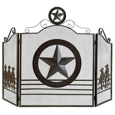 Texas Style Lone Star Fireplace Screen Rustic Finish Cast Ir