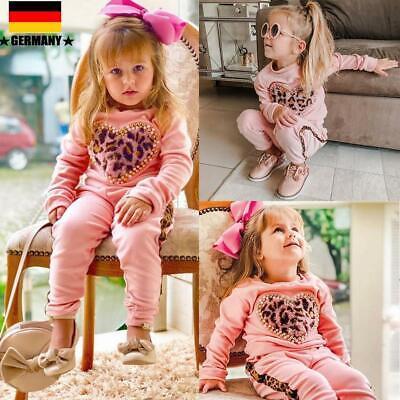 y Mädchen Leopard Tops Hoodies Hosen Outfits Set Trainingsanzug (Kleinkind Mädchen)