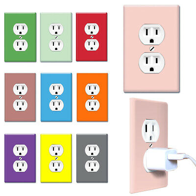 1-Gang Duplex Decorative Wall Switch Outlet Cover Receptacle Plug - Solid color