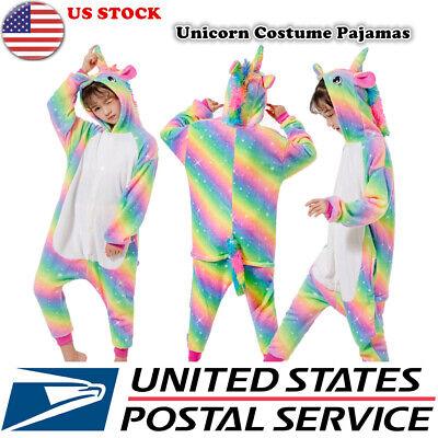 Child Unicorn Costume (Child Girls Pajamas - Plush One Piece Unicorn Cosplay Animal)