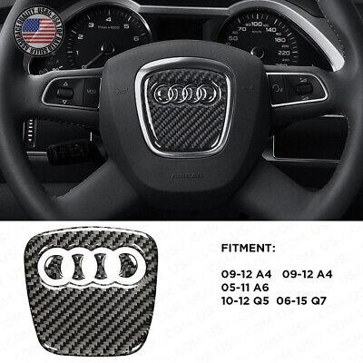 For Audi A4 A5 Q5 Q7 3D Carbon Fiber Steering Wheel Horn Logo Badge Emblem Sport