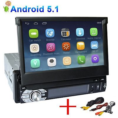 Android 5.1 Single 1Din Touch Screen GPS Navigation Car Stereo Radio + Camera
