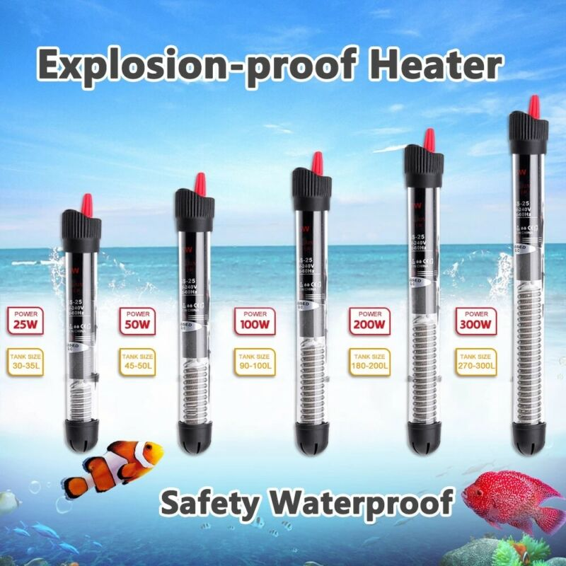 Anti-Explosion Aquarium 50-200W Adjustable Heater for Fish Tank 10 to 53 Gallons