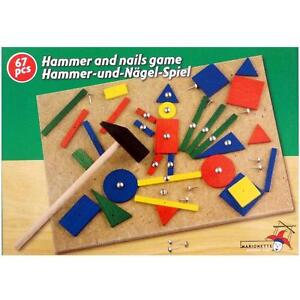 67 pc Hammer and Nails Tap Tap Pins Wooden Shape Hammering Creative Art Set Toy