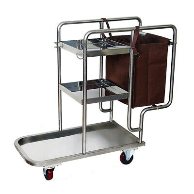 Stainless Steel 3 Shelf Janitor Cart With Cloth Bag Housekeeping Cart Hotel