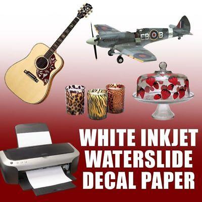 White Inkjet Waterslide Decal Paper 8.5 X 11 5 Sheets Best On Ebay 1