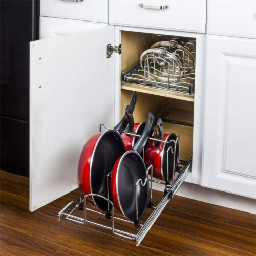 """Hardware Resources Pull Out Cookware Pot Organizer For 15"""" To 18"""" Base Cabinet"""