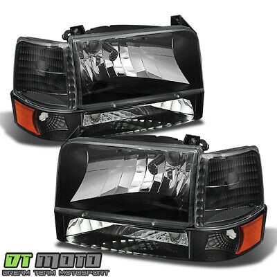 Black 1992-1996 Ford F150 F250 F350 Bronco Headlights+Corner Lights+Bumper Lamps
