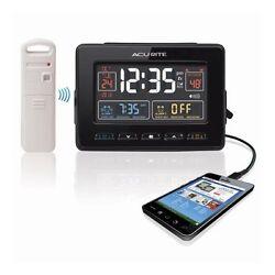 Chaney Atomic Dual Alarm Clock with Indoor/Outdoor Temperature, Black