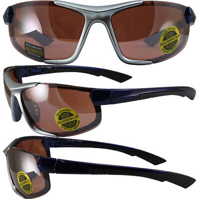 Amber Sunglasses With Silver Frames (Maxx Blitz Sport Riding Sunglasses with Blue/Silver Frame Amber High Def Lens )