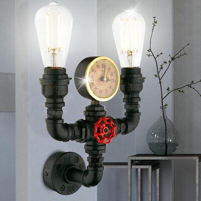 Industrie Stil Wand Leuchte Quartz Uhr Wasser Rohr Lampe gold Strahler schwarz