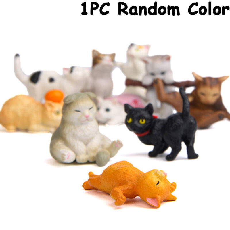 Garden Decor Cartoon Animal Happy Cat Figurines Miniature Catling Kitten Models