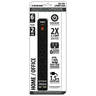 Xtreme 6 Outlet Home and Office Power Strip with Dual USB Ports (Black) 28631