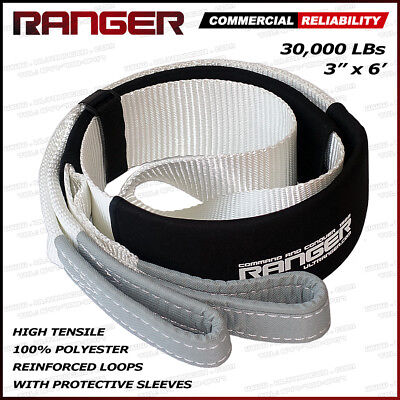 """Ranger 3"""" x 6' 30,000 lbs Reinforced Tree Saver Strap for Tow Winch Recovery"""