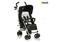 NEW IN BOX HAUCK SPEED PLUS LIGHTWEIGHT BUGGY STROLLER BLACK UNISEX WITH RAIN COVER BIRTH TO THREE.
