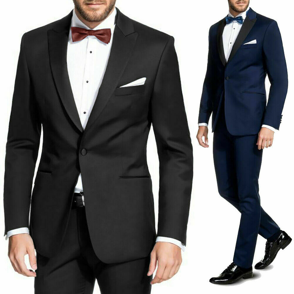 Vestito Uomo Blu Smoking Nero Elegante Slim Fit Abito cerimonia Sartoriale VEQUE