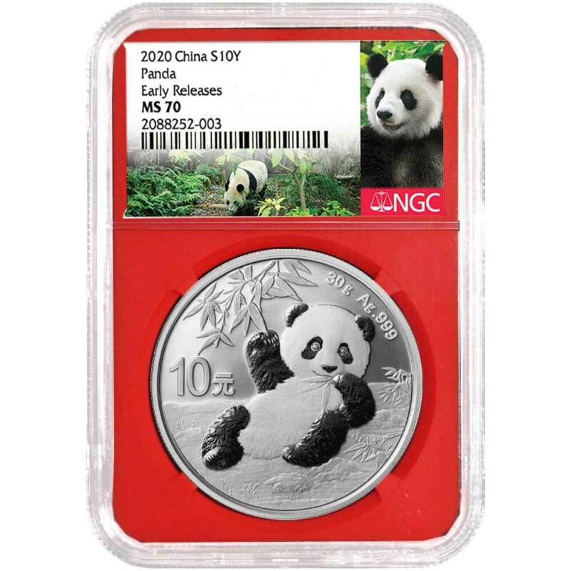 2020 10 Yuan Silver China Panda NGC MS70 Panda ER Label Red Core