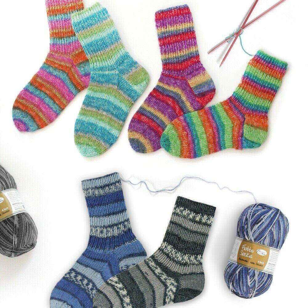 Flotte Socke 4fach Baumwolle+Stretch ideal für den Sommer 100g Sockenwolle Rella