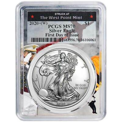 2020 (W) $1 American Silver Eagle PCGS MS70 FDOI West Point Frame