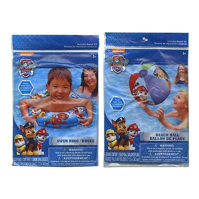 PAW PATROL Inflatable Swim Ring Tube + Pool Beach Ball Toy S