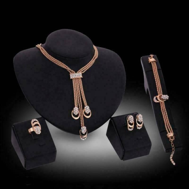 4pcs/set 18K Gold Plated Crystal Necklace Bracelet Ring Earr