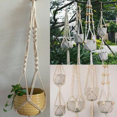 Potted Plant Macrame Hanger Hanging Planter Basket Sling Rope DIY Braid Lanyard - Macrame Plant Hanger Diy