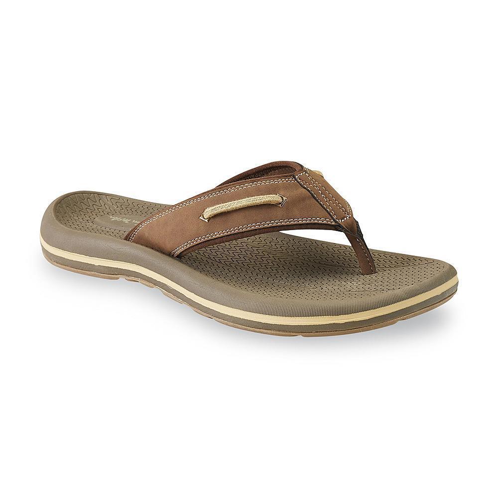 Thom McAn Men's Nautilus 2 Brown Flip-Flop Sandal sizes 8-11