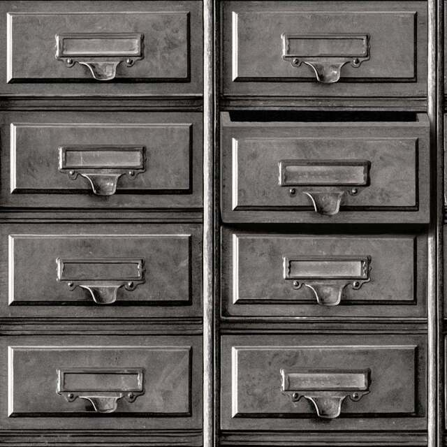 3d Vintage Metal Grey Drawers Filing Cabinet Feature Wallpaper Holden 11971