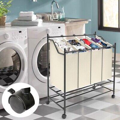 Wäschesortierer 4 Fächer Wäschekorb Beige Wäschesammler Wäschebox Wäschesack