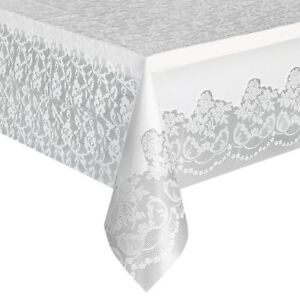 White Lace Plastic Tablecloth, 108