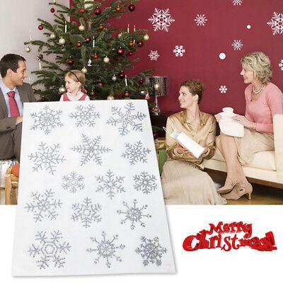 1/3/5/10 Sheet Glitter Snowflake Window Stickers Decals Christmas Party - Snowflake Window Decals