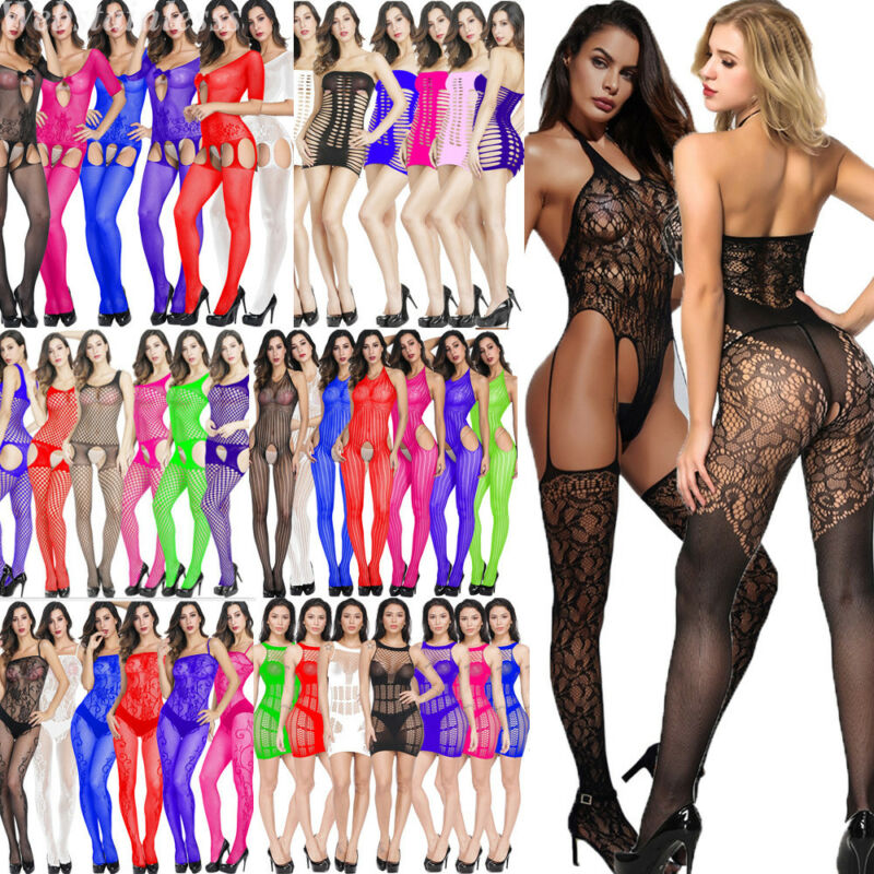 Sexy Women Bodysuit Body Stocking Lingerie Fishnet Babydoll Nightwear Sleepwear