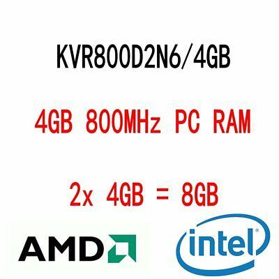 8GB 2x 4GB KVR800D2N6/4G DDR2 PC2-6400U 800MHz DIMM RAM memoria para Kingston...