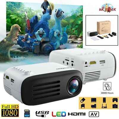 Mini Portable Full HD 1080P LED Projector LCD Home Theater Cinema USB HDMI AV UK