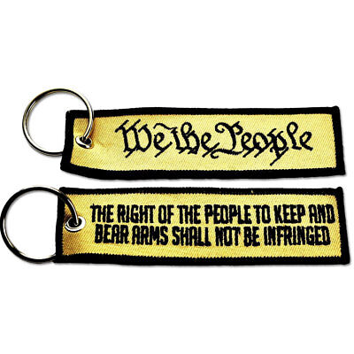 TACTICAL EMBROIDERED KEY CHAIN KEY TAG - WE THE PEOPLE ACU