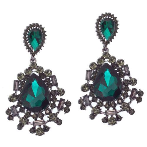 "Floral Dangle Drop Long Earring Jewelry Emerald Green Black Crystal Design 2.7"""
