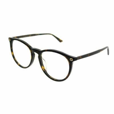 Gucci GG 0027OA 002 Asian Fit Havana Plastic Round Eyeglasses 52mm