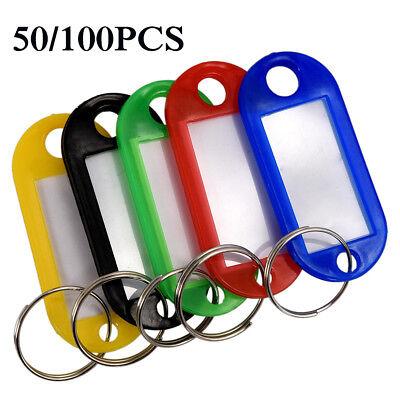 Plastic Keychains (Lots 50-100PCS Tough Plastic Key Luggage Tags W/Split Ring Label Window)