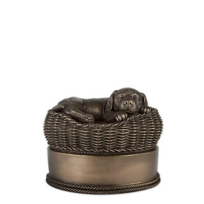 Perfect Memorials Small Bronze Dog in Basket Cremation Urn
