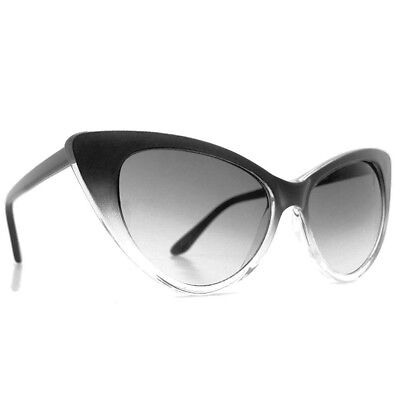 Sunglasses Pointed CAT EYE Faded Black Frames 100% UV400 Protection (Black Pointed Sunglasses)