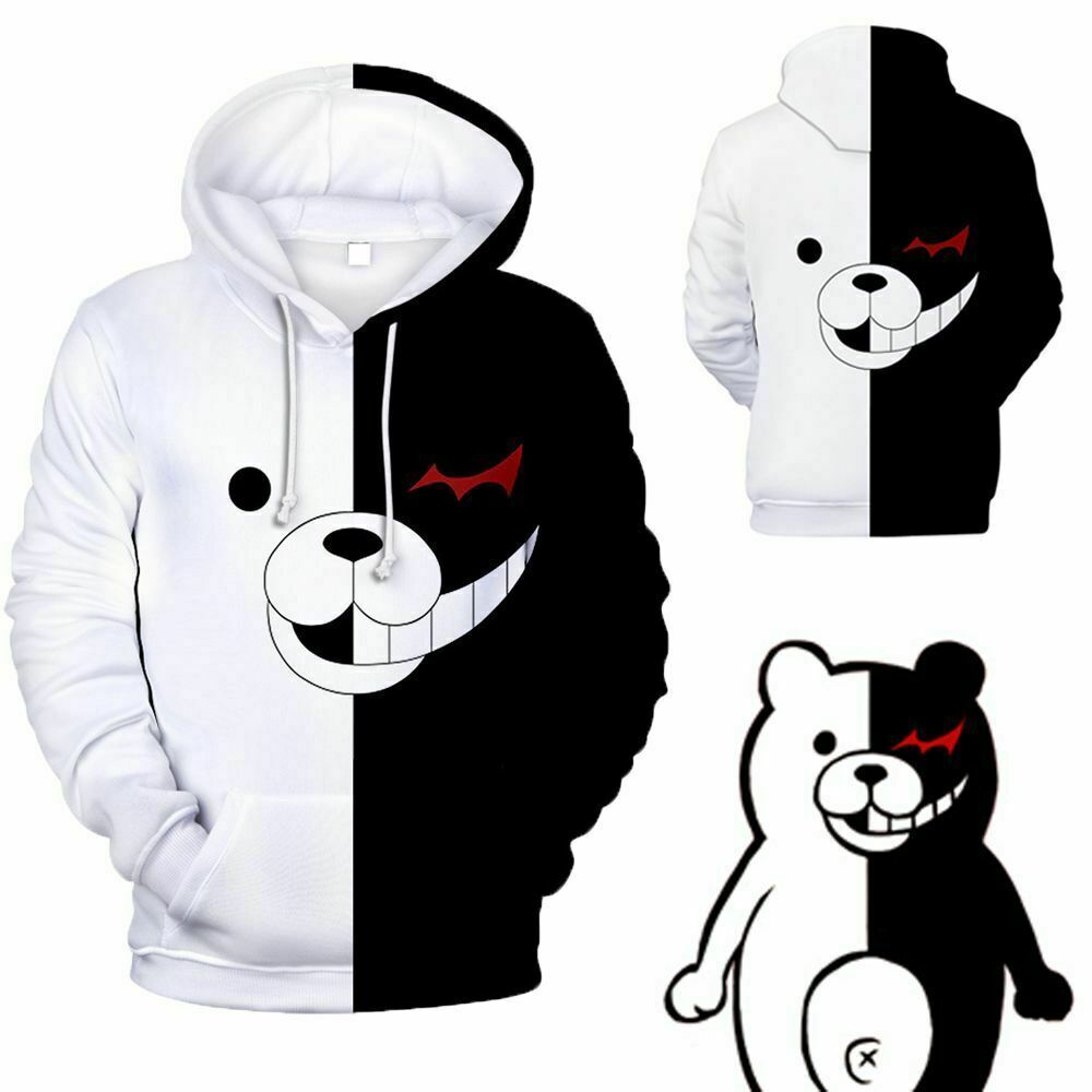 Danganronpa Monokuma Black & White Bear Unisex Jacket Sweater Sweatshirt Hoodie Activewear