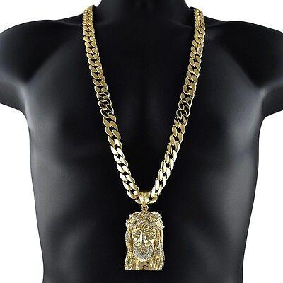 Jesus Piece Chain Head Face Pendant Charm Gold Finish 33