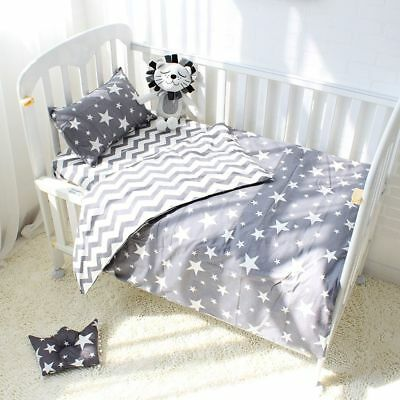 3Pcs Cotton Crib Bed Linen For Baby Bedding Set Pillowcase Bed Sheet Duvet (Linen Crib Set)