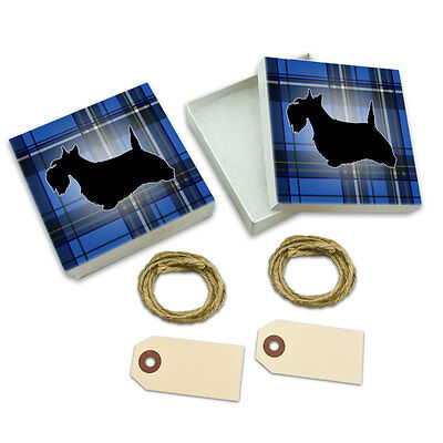 Scottie Dog on Blue Plaid Scottish Terrier White Gift Boxes Set of 2