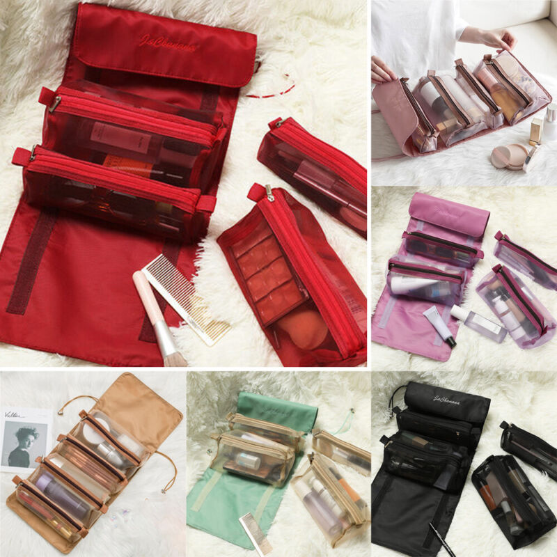 lady cosmetic wash makeup case roll up