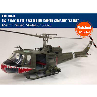 Merit 60028 1/18 US UH-1B Huey 174th Assault Helicopter Shark Finished Model Kit for sale  China