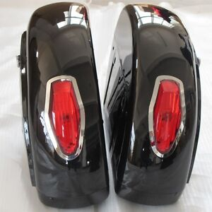 Black Saddle bag w/ Tail Light For Honda Shadow 600 750 VLX Valkyrie VT F VTX LN