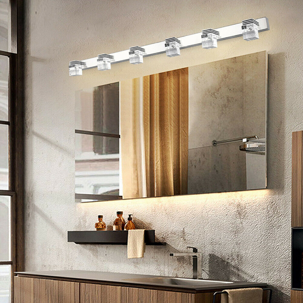 4 6 Lights Led Crystal Bathroom Mirror Front Light Wall Lamp Led Make Up Fixture Ebay